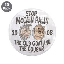 """Old Goat McCain Cougar Palin 3.5"""" Button (10 pack)"""