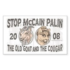 Old Goat McCain Cougar Palin Rectangle Decal