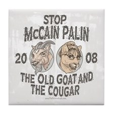 Old Goat McCain Cougar Palin Tile Coaster