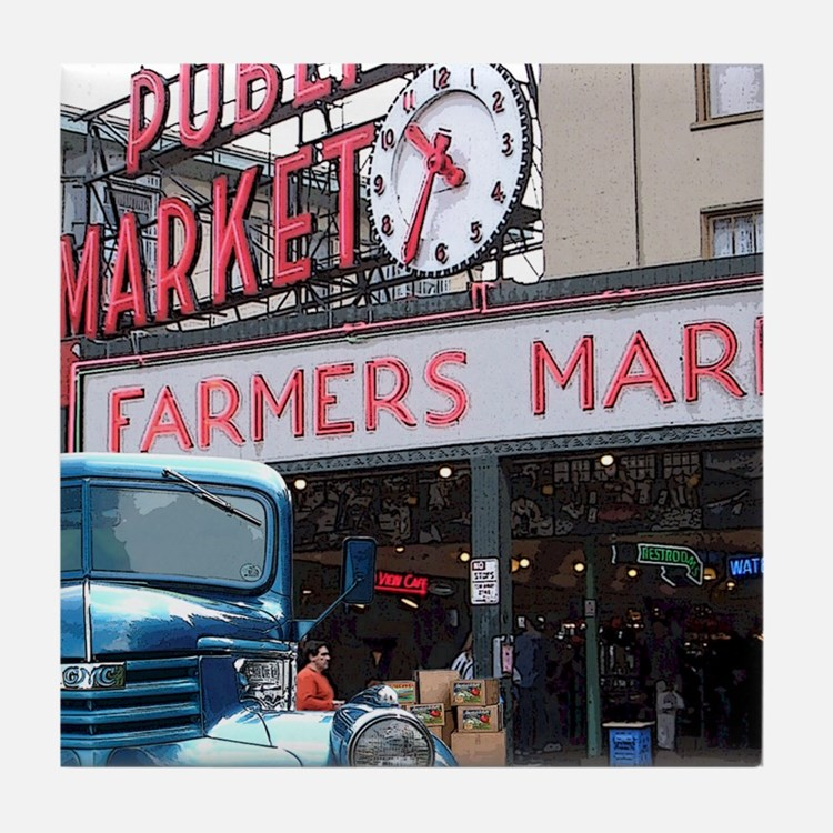 Pike Place Market Tile Coaster