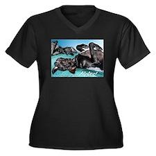 Relax! Women's Plus Size V-Neck Dark T-Shirt