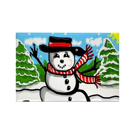 Snowman Rectangle Magnet