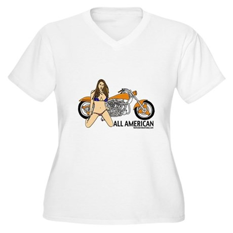 All American Harley Women's Plus Size V-Neck T-Shi