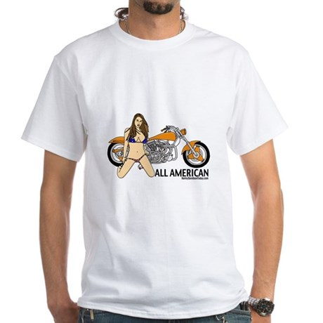 All American Harley White T-Shirt