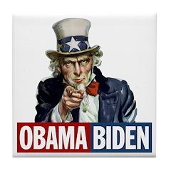 Obama-Biden Uncle Sam R/B Tile Coaster
