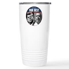 John F. Kennedy & Obama Our Best Travel Mug