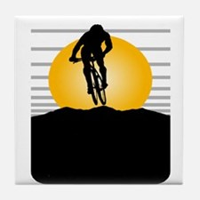 Silhouette Cyclist Tile Coaster