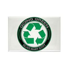 GG Recycle, Olive-Mary Stitt Rectangle Magnet (100