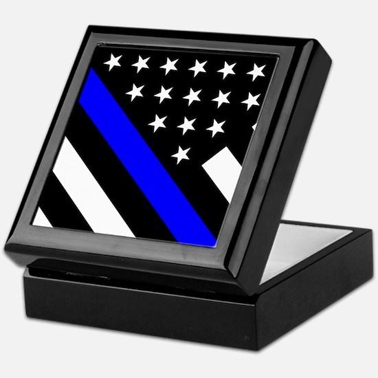 Police Flag: Thin Blue Line Keepsake Box