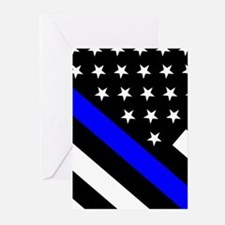 Police Flag: Thin Blue L Greeting Cards (Pk of 10)