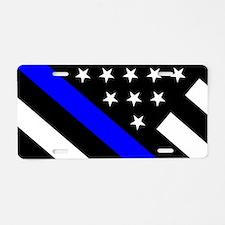 Police Flag: Thin Blue Line Aluminum License Plate