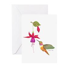 hummer_fuschia Greeting Cards