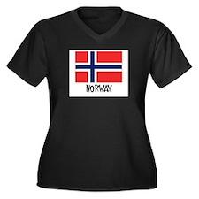 Norway Flag Women's Plus Size V-Neck Dark T-Shirt