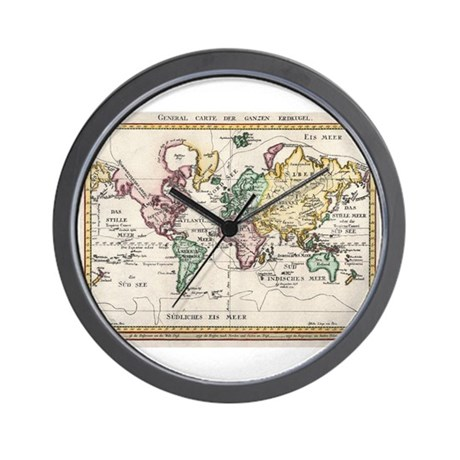 German Map of the World, 1800 Wall Clock