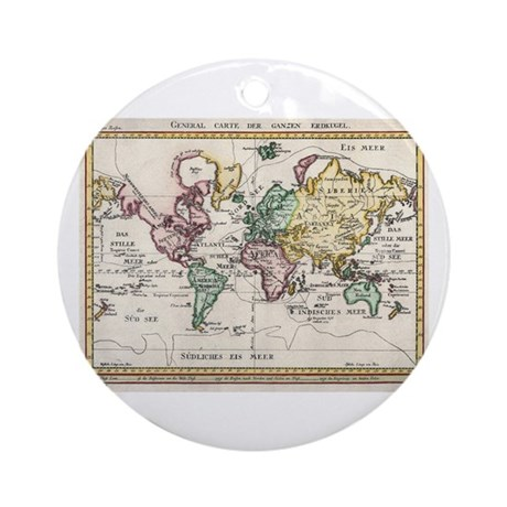 German Map of the World, 1800 Ornament (Round)