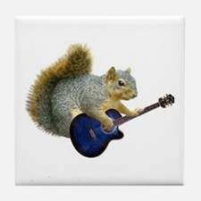 Squirrel with Blue Guitar Tile Coaster