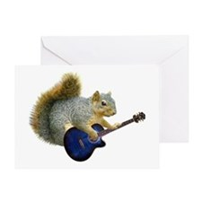 Squirrel with Blue Guitar Greeting Card