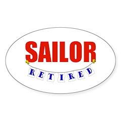 Retired Sailor Oval Sticker (10 pk)