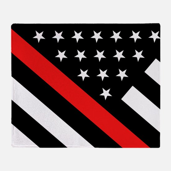 Firefighter Flag: Thin Red Line Throw Blanket