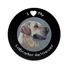 Dezzie, Yellow Lab Ornament (Round)