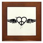 Heart Peace Wing in Black Framed Tile