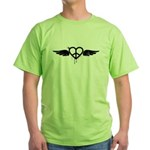 Heart Peace Wing in Black Green T-Shirt