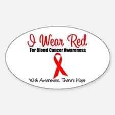 Blood Cancer Red Ribbon Oval Sticker (10 pk)