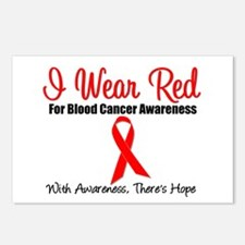 Blood Cancer Red Ribbon Postcards (Package of 8)
