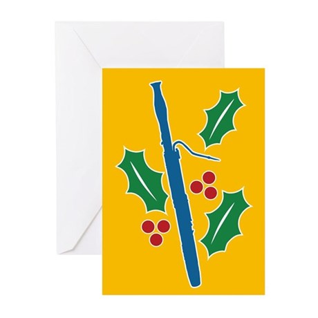 Bassoon Holly Greeting Cards (Pk of 20)