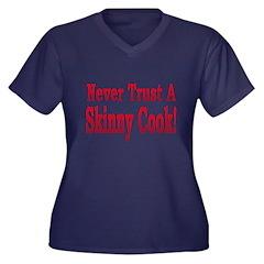 Skinny Cook Women's Plus Size V-Neck Dark T-Shirt