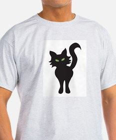 Front and Back Black Cat Ash Grey T-Shirt