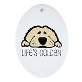 Golden retriever Oval Ornaments