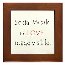 Social Work Is Love Framed Tile