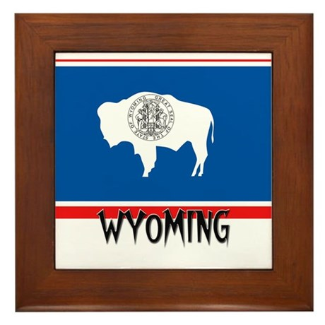 Wyoming Flag Framed Tile