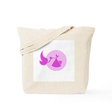 Stork and Baby Pink Tote Bag