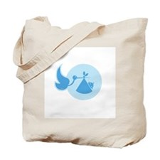 Stork and Baby Blue Tote Bag