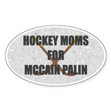 Hockey Moms for McCain Palin Oval Bumper Decal
