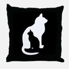 Feline Silhouettes Throw Pillow