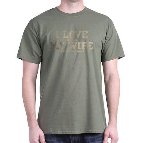 WIFE LETS ME GO FISHING Dark T-Shirt