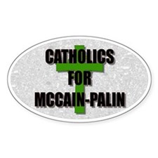 Catholics for McCain Palin Oval Decal