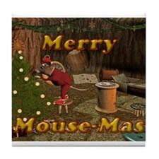 Merry Mousemas Tile Coaster