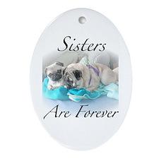Sister pugs Oval Ornament