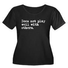 Loner Plus Size Scoop Neck Dark T-Shirt