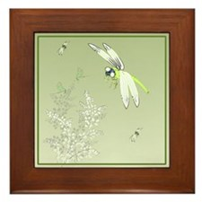 Green Dragonflies and Plants Framed Tile