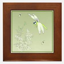 Green Dragonflies and Plants Framed Tile