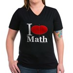 I Love Math Women's V-Neck Dark T-Shirt