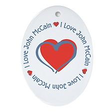 I Love Heart John McCain Oval Ornament