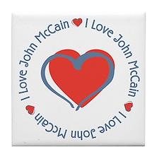 I Love Heart John McCain Tile Coaster