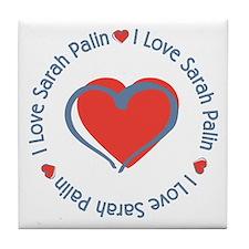 I Love Heart Sarah Palin Tile Coaster