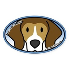 Anime American Foxhound Oval Decal